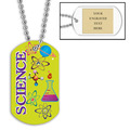 Personalized Science Dog Tag w/ Engraved Plate