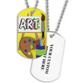 Personalized Art Dog Tag  w/ Print on Back