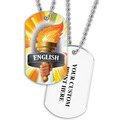 Personalized English Torch Dog Tag w/ Print on Back