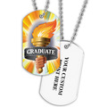 Personalized Graduate Torch Dog Tag w/ Print on Back