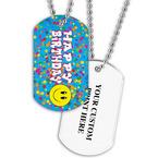 Personalized Happy Birthday Dog Tag w/ Print on Back