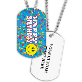 Personalized Happy Birthday Dog Tag w/ Print on Back