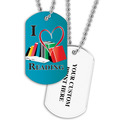 Personalized I Heart Reading Dog Tag w/ Print on Back