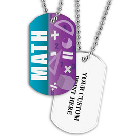 Personalized Math Dog Tag w/ Print on Back