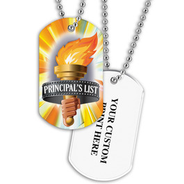 Personalized Principal's List Torch Dog Tag w/ Print on Back