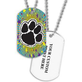 Personalized Paw Print Dog Tag w/ Print on Back
