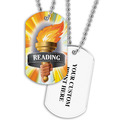 Personalized Reading Torch Dog Tag w/ Print on Back