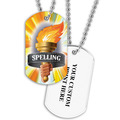 Personalized Spelling Torch Dog Tag w/ Print on Back