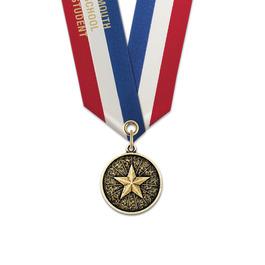 CX School Award Medal w/ Specialty Satin Neck Ribbon