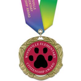 XBX School Award Medal w/ Specialty Satin Neck Ribbon
