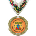 XBX Full Color School Award Medal with Millennium Neck Ribbon