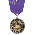 LX School Award Medal w/ Satin Neck Ribbon - OUR MOST POPULAR School Award Medal