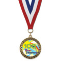 Stock LFL School Award Medal w/ Red/White/Blue or Year Grosgrain Neck Ribbon