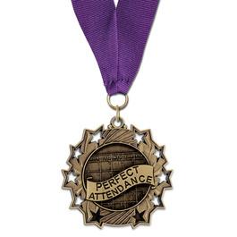 Ten Star School Award Medal with Grosgrain Neck Ribbon