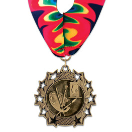 Ten Star School Award Medal with Millennium Neck Ribbon
