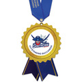 Birchwood Stock Shape School Award Medal w/ Satin Neck Ribbon