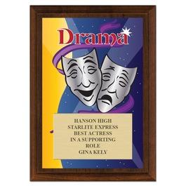 Drama Award Plaque - Cherry Finish