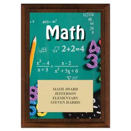 Math Award Plaque - Cherry Finish