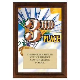 Third Place Award Plaque - Cherry Finish
