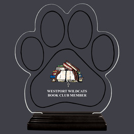 Full Color Large Paw Print Shaped Acrylic School Trophy w/ Black Base