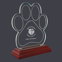 Engraved Paw Print Shaped Acrylic School Award Trophy