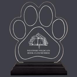 Engraved Small Paw Print Shaped Acrylic School Award Trophy w/ Black Base
