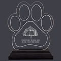 Engraved Small Paw Print Shaped Acrylic School Award Trophy w/ Black Base