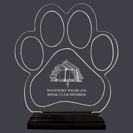 Engraved Large Paw Print Shaped Acrylic School Award Trophy w/ Black Base