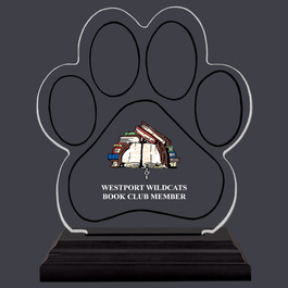 Full Color Small Paw Print Shaped Acrylic School Trophy w/ Black Base
