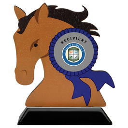 Birchwood Horse Head School Award Trophy w/ Black Base