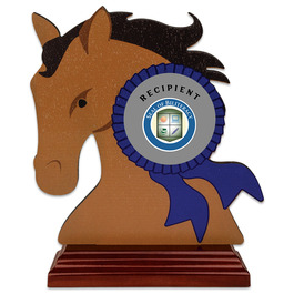 Birchwood Horse Head School Award Trophy w/ Rosewood Base