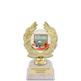 """5-1/2"""" White HS Base School Award Trophy w/ Insert Top"""