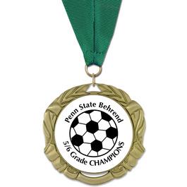 XBX Soccer Award Medal w/ Any Grosgrain Neck Ribbon