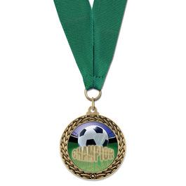 LFL Soccer Award Medal w/ Grosgrain Neck Ribbon