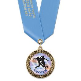 LFL Soccer Award Medal w/ Satin Neck Ribbon