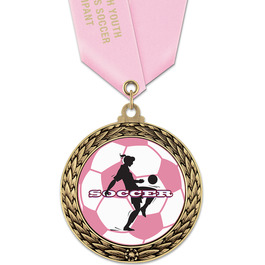 GFL Soccer Award Medal w/ Satin Neck Ribbon