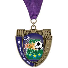 MS14 Mega Shield Soccer Award Medal w/ Any Grosgrain Neck Ribbon