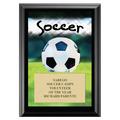 Soccer Black Wood Plaque