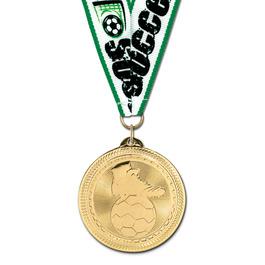 BL Soccer Award Medal w/ Grosgrain Neck Ribbon