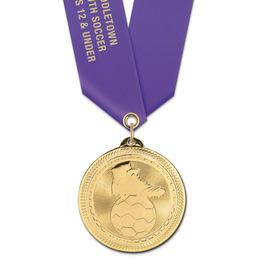 BL Soccer Award Medal w/ Satin Neck Ribbon