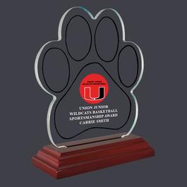 Paw Print Acrylic Sports Trophy