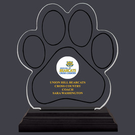 Full Color Small Paw Print Shaped Acrylic Sports Trophy w/ Black Base