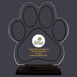Full Color Large Paw Print Shaped Acrylic Sports Trophy w/ Black Base