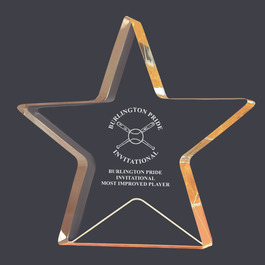 Engraved Gold Star Shimmer Acrylic Sports Award Trophy