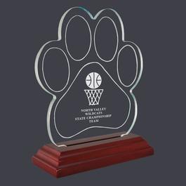 Engraved Paw Print Shaped Acrylic Sports Award Trophy