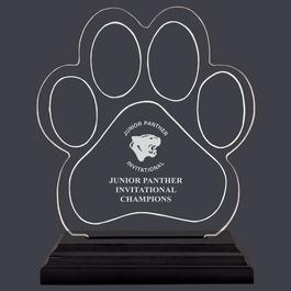 Engraved Small Paw Print Shaped Acrylic Sports Award Trophy w/ Black Base
