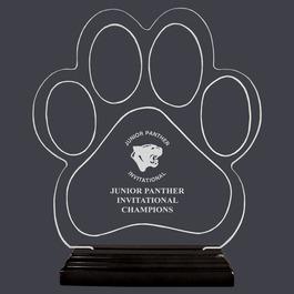 Engraved Large Paw Print Shaped Acrylic Sports Award Trophy w/ Black Base