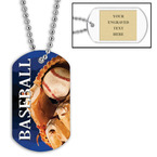 Personalized Baseball Dog Tags w/ Engraved Plate