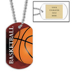 Personalized Basketball Dog Tags w/ Engraved Plate