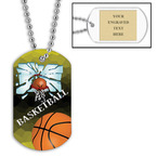 Personalized Basketball Hoop Dog Tags w/ Engraved Plate